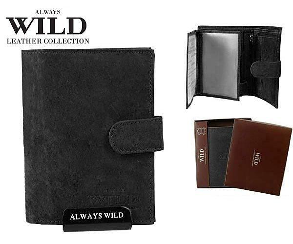 Značková kožená peněženka Always Wild černá 8N4L-MHU