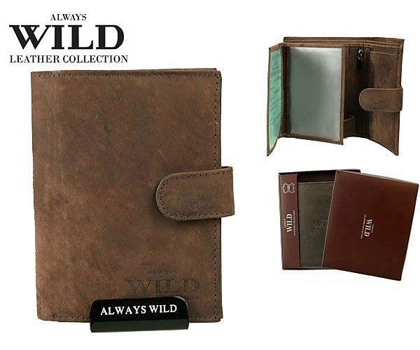 Značková kožená peněženka Always wild hnědá 8N4L-MHU-01