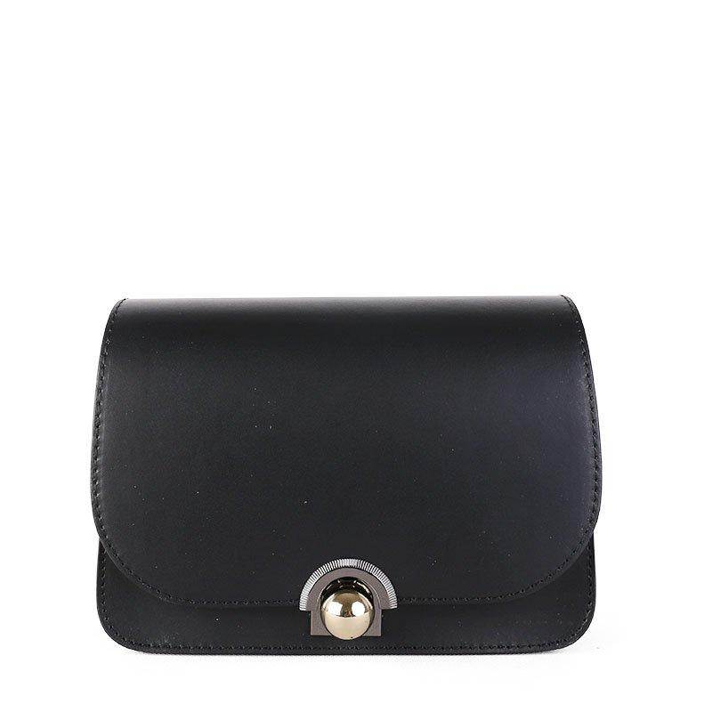 ITALSKÉ Kožená kabelka luxusní crossbody Italská černá Elisa