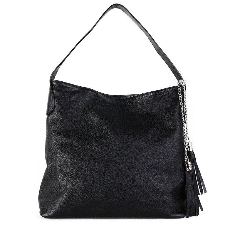 ITALSKÉ Luxusní dámské kožené kabelky přes rameno Fabiola černé