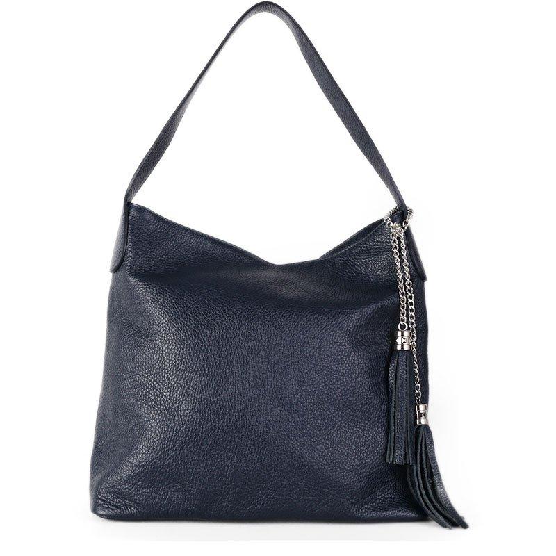 ITALSKÉ Kožená kabelka přes rameno Italská modrá Fabiola