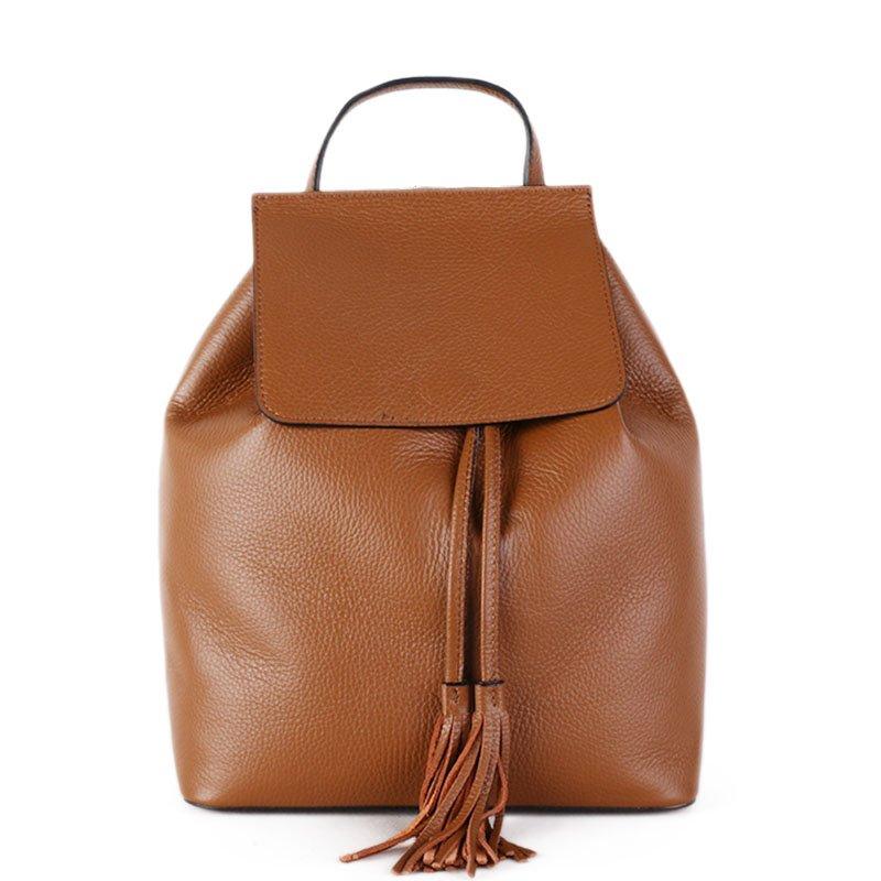 Vera Pelle Kožený batoh do školy hnědý Mauricio 12l