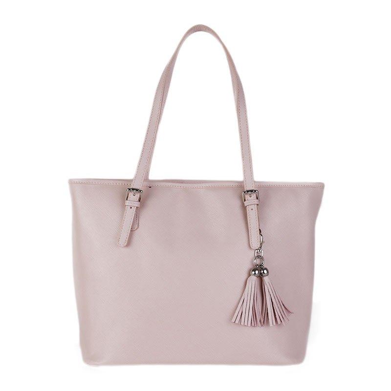 ITALSKÉ Kožená kabelka přes rameno Italská jemně růžová Dorotea