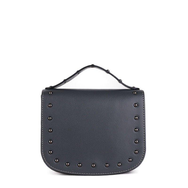 ITALSKÉ Kožená kabelka malá Italská šedá Lina