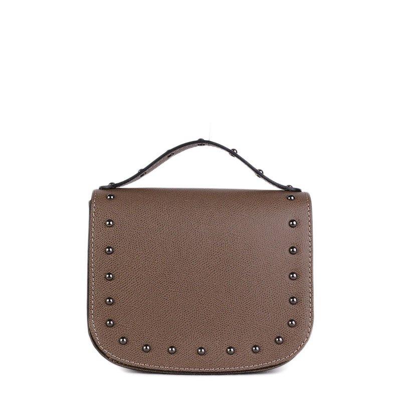 ITALSKÉ Malá kožená kabelka Italská hnědá Lina
