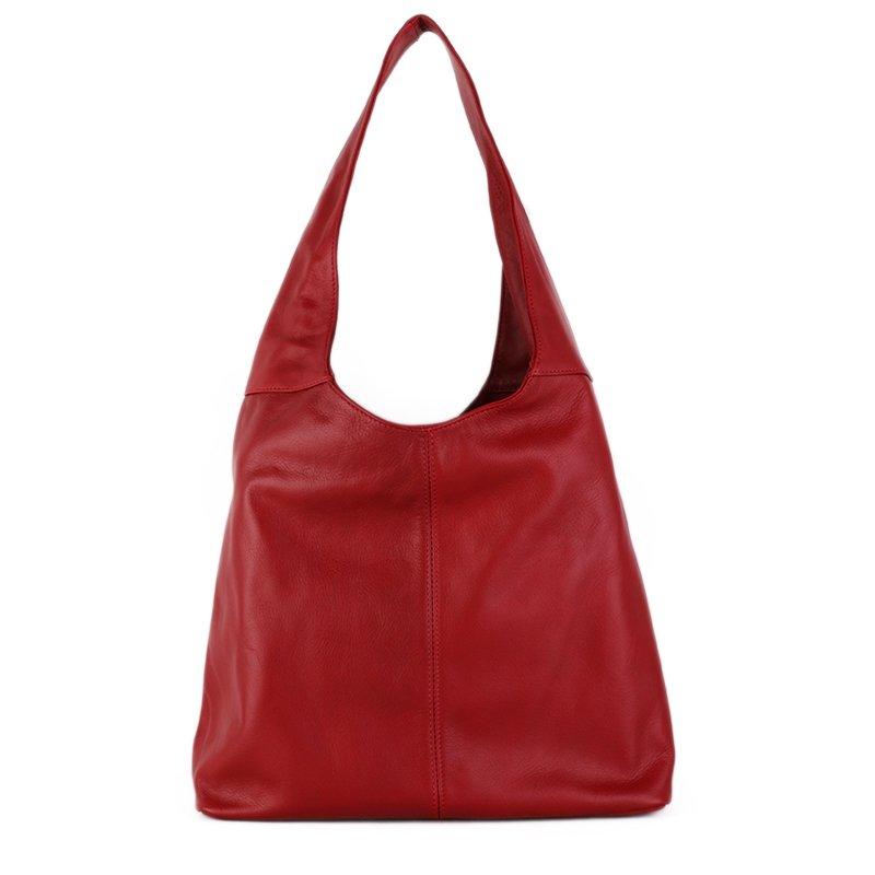 ITALSKÉ Kožená kabelka přes rameno Italská červená Adel