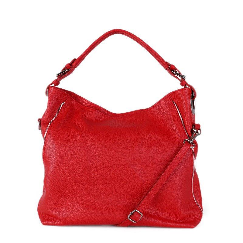 ITALSKÉ Kožená kabelka velká crossbody Italská červená Coleta