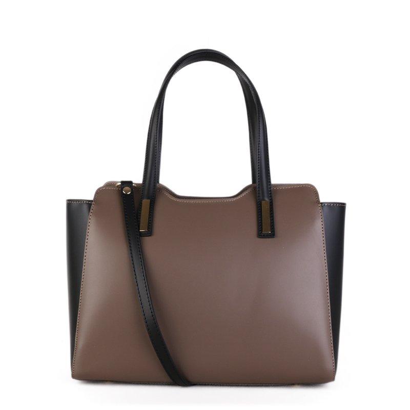 ITALSKÉ Luxusní kožená kabelka Italská černá s taupe Minerva