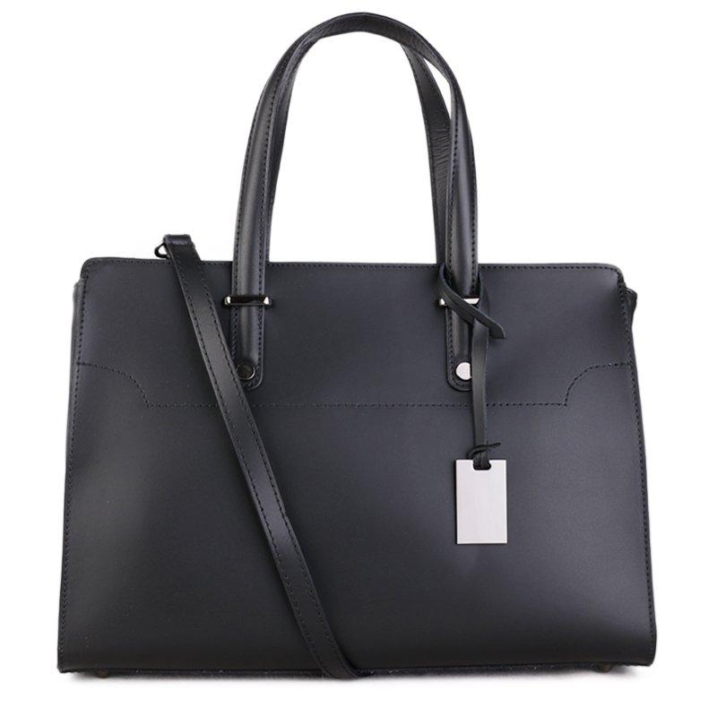 ITALSKÉ Kožená kabelka luxusní Italská černá Aurora