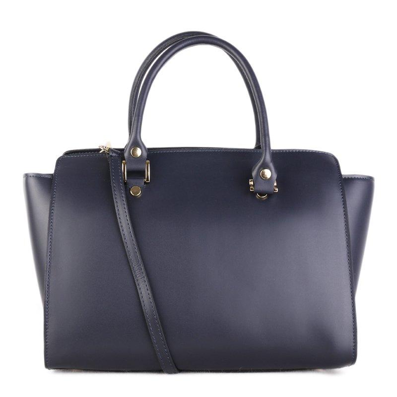 ITALSKÉ Elegantní kožená kabelka přes rameno Italská tmavomodrá Daniela