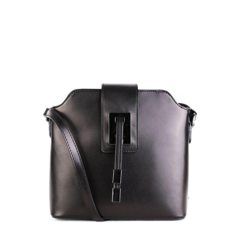 ITALSKÉ Elegantní kožené kabelky crossbody Zaira černé
