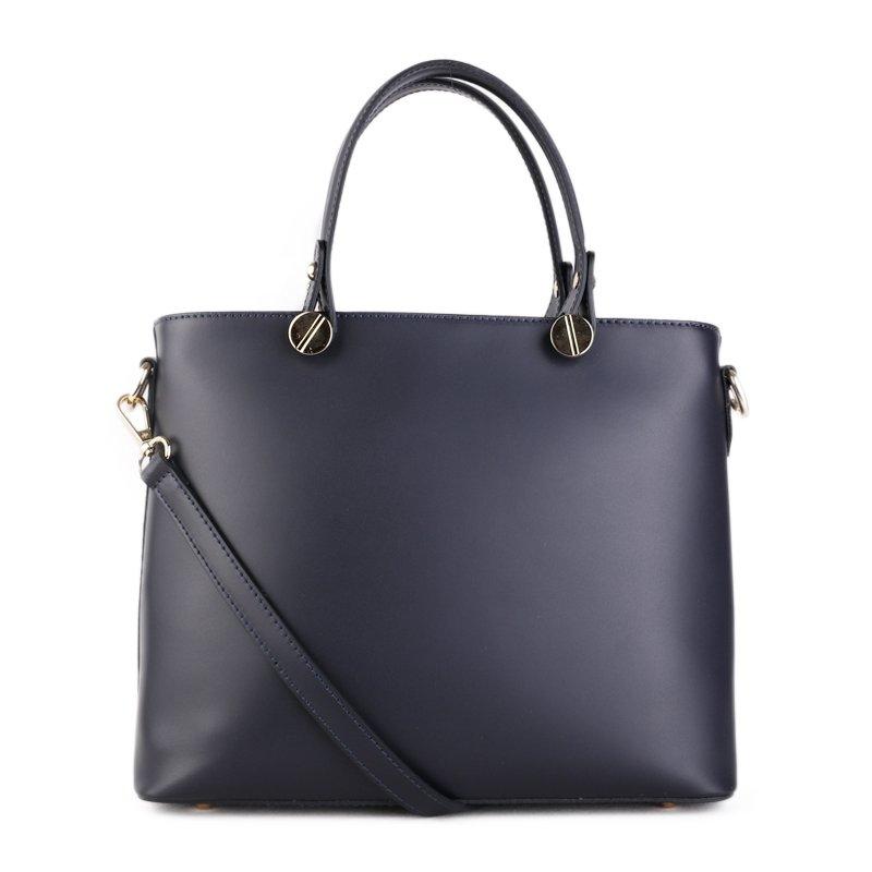 ITALSKÉ Kožená kabelka luxusní přes rameno Italská tmavomodrá Marika