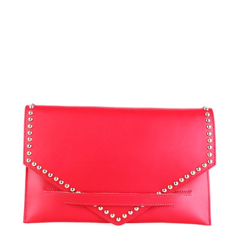 ITALSKÉ Kožená kabelka večerní Italská červená Matilde
