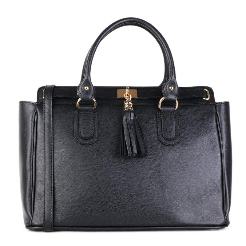 ITALSKÉ Kožená velká kabelka Italská černá Ludovica