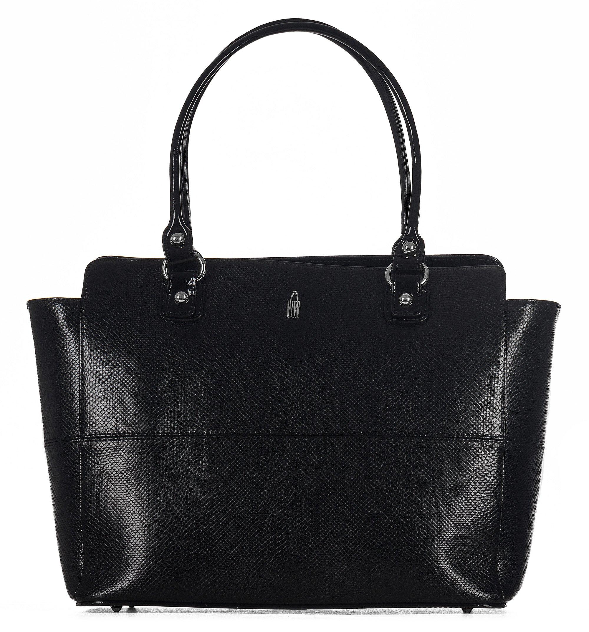 WOJEWODZIC Luxusní dámské kožené kabelky přes rameno 31516/PC01/PL01 černé