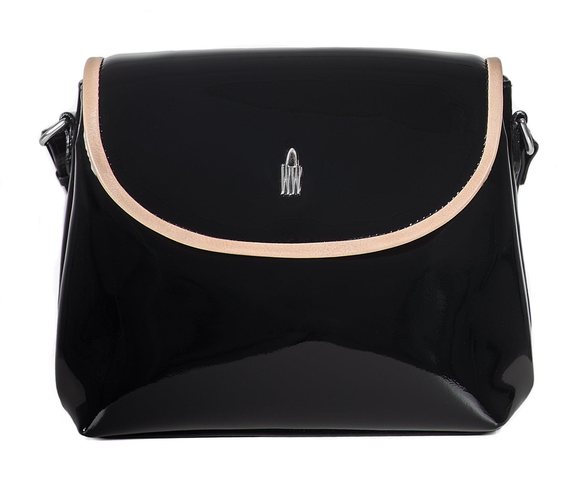 a04ed9de6b Luxusní lakované kožené crossbody kabelky černé 31408 PL01 05 Wojewodzic