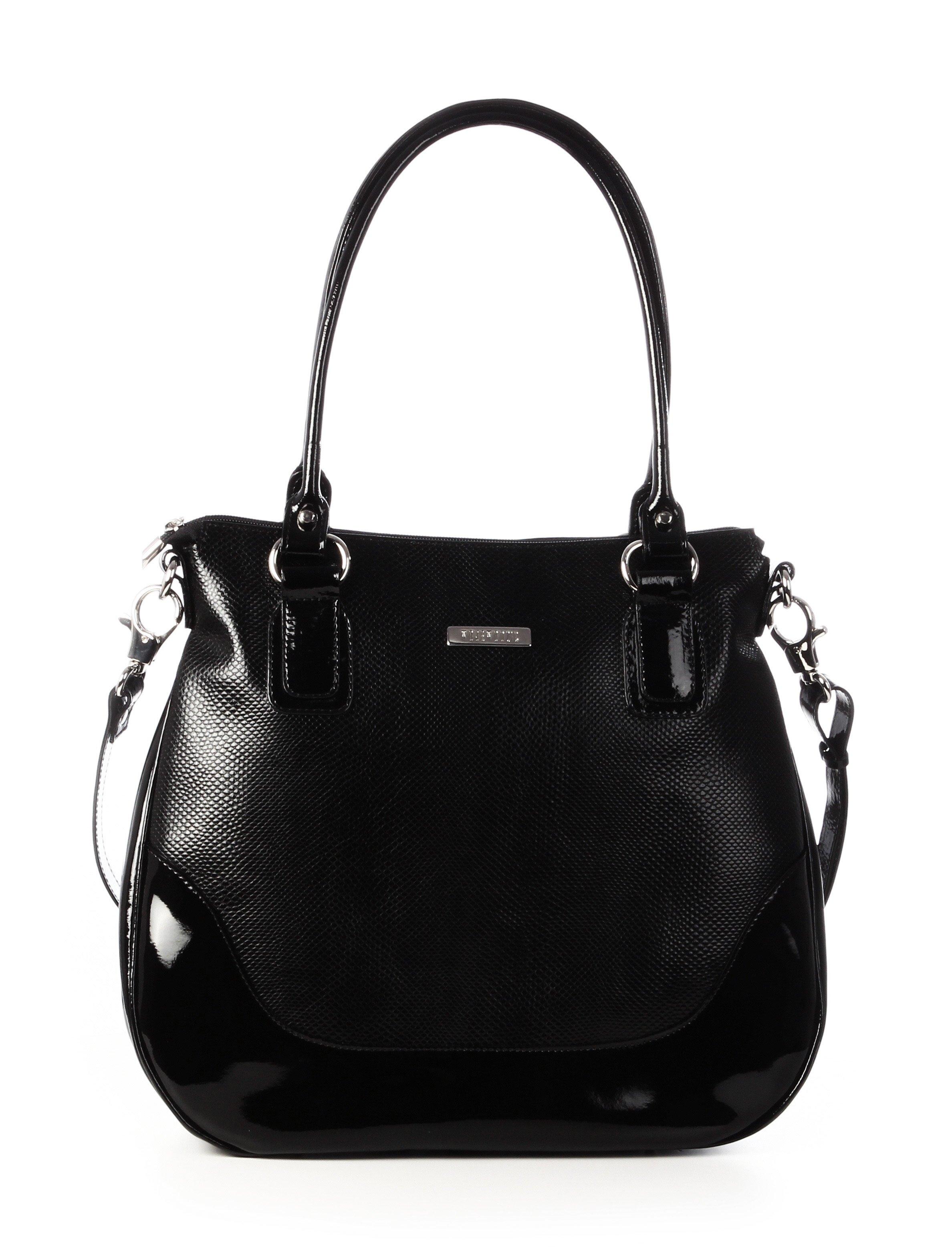 Luxusní černé dámské kožené kabelky na rameno Wojewodzic 31110/PC01/PL01