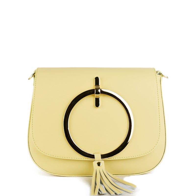 ITALSKÉ Trendová kožená kabelka přes rameno z Itálie žlutá Ilaria