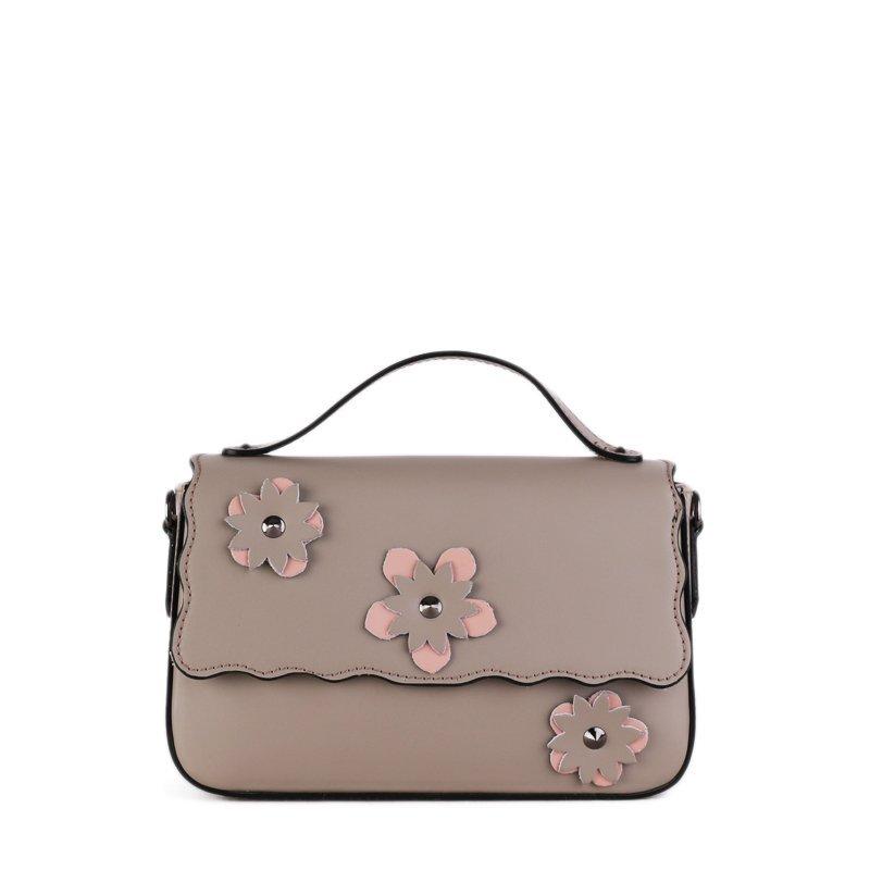 ITALSKÉ Trendová kožená kabelka Vera Pelle z Itálie šedorůžová Bibiana