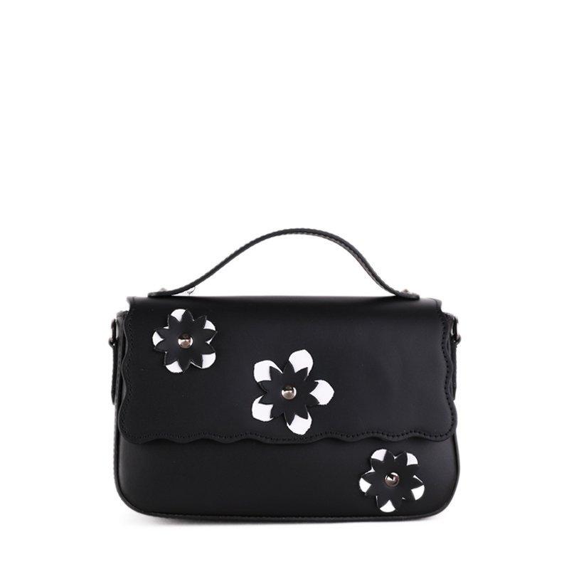 ITALSKÉ Trendová kožená kabelka do ruky z Itálie černobíla Bibiana
