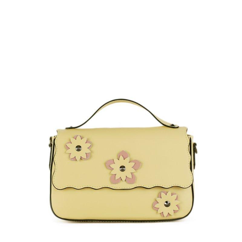ITALSKÉ Trendová kožená kabelka Vera Pelle z Itálie žlutá Bibiana