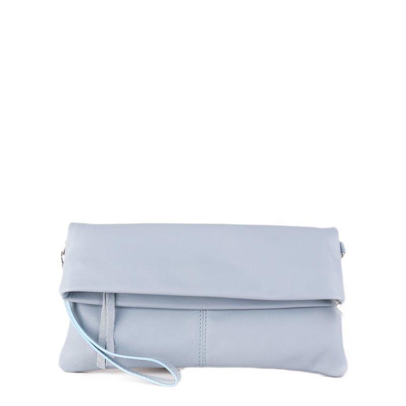 ITALSKÉ Kožená kabelka do ruky z Itálie světlemodrá Violeta