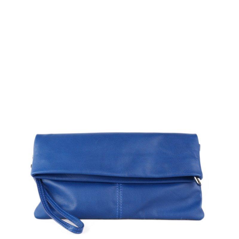 ITALSKÉ Kožená kabelka do ruky z Itálie modrá Violeta