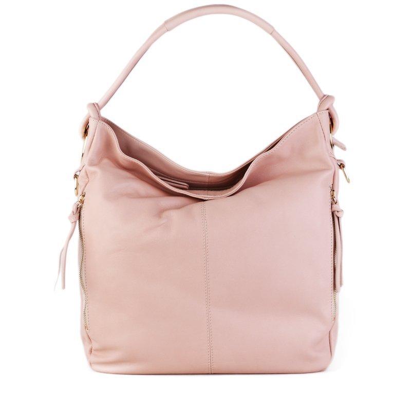 ITALSKÉ Kožená luxusní kabelka přes rameno Itálie jemně růžová Salvare