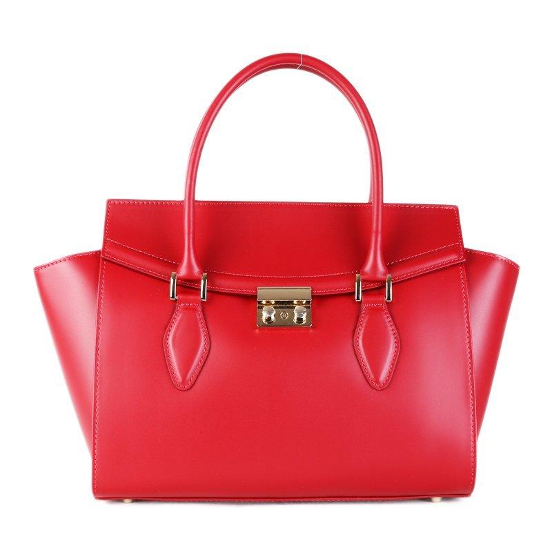 ITALSKÉ Kožená luxusní kabelka do ruky Itálie červená Catrina