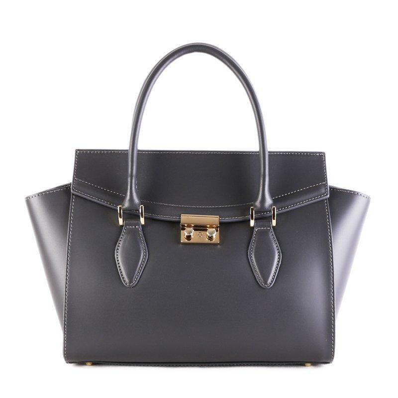 ITALSKÉ Kožená luxusní kabelka do ruky Itálie šedá Catrina