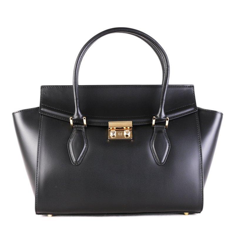 ITALSKÉ Kožená luxusní kabelka do ruky Itálie černá Catrina