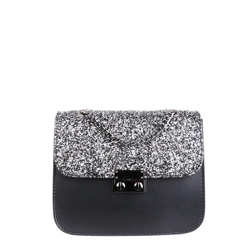 ITALSKÉ Luxusní malá Italská kožená kabelka Ofelia černá se stříbrnými flitry