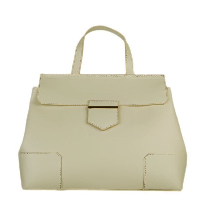 ITALSKÉ Trendová kožená kabelka Vera Pelle ve smetanové barvě Dafne