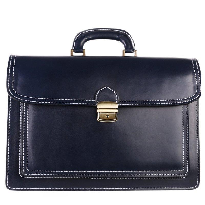 ITALSKÉ Pánská velká kožená taška do ruky Vera Pelle modrá Valentino