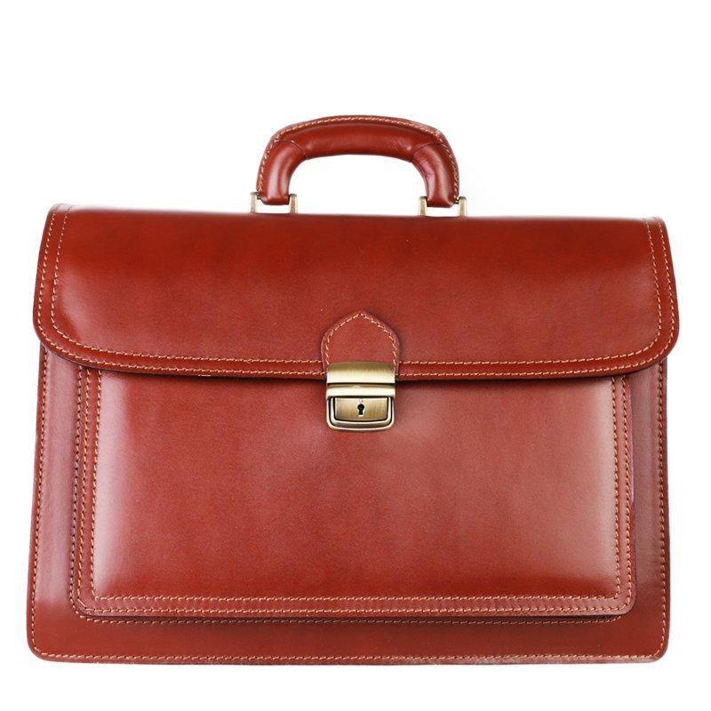 ITALSKÉ Pánská velká kožená taška do ruky Vera Pelle hnědá(koniak) Valentino