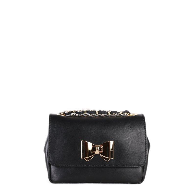 Kožené kabelky malé crossbody Italské černé Silvia