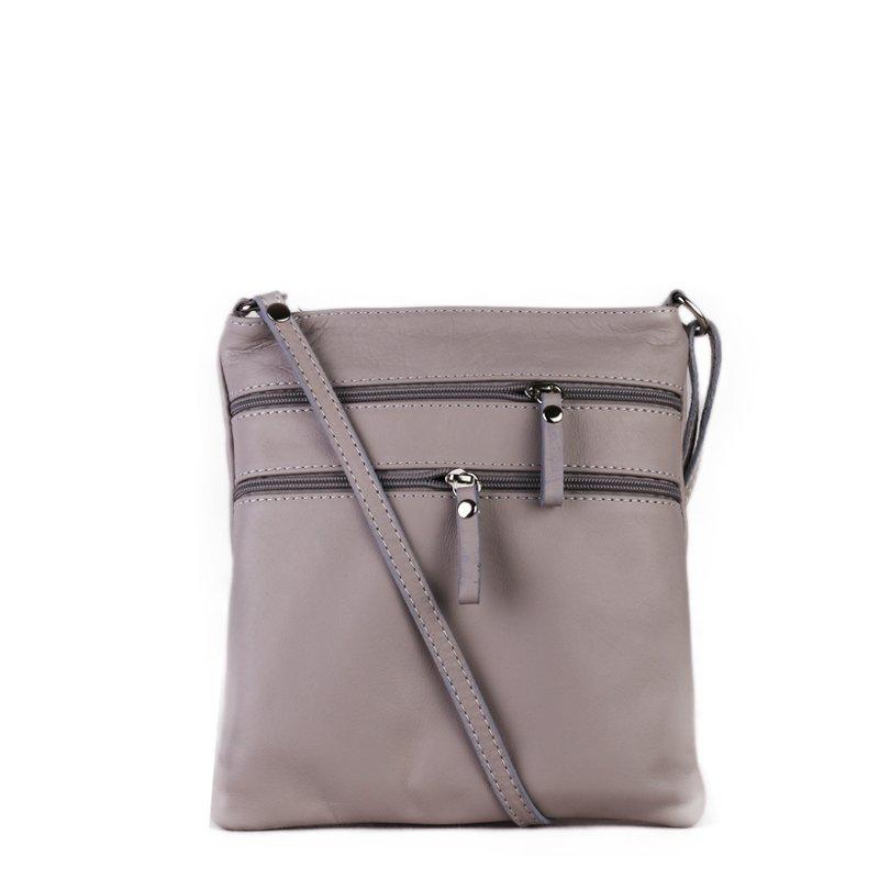 ITALSKÉ Trendová kožená kabelka crossbody Italská šedá Patrizia