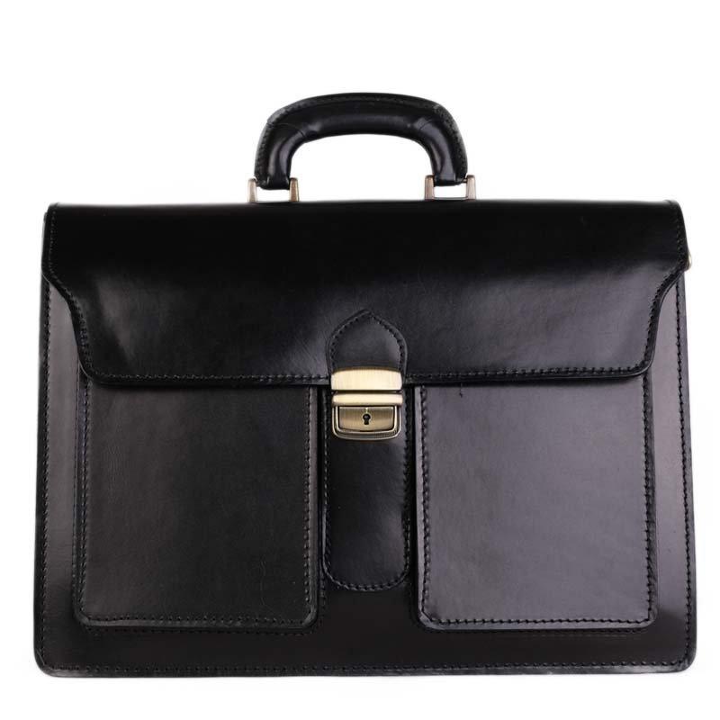ITALSKÉ Prostorná kožená taška pro pány Ugo černá