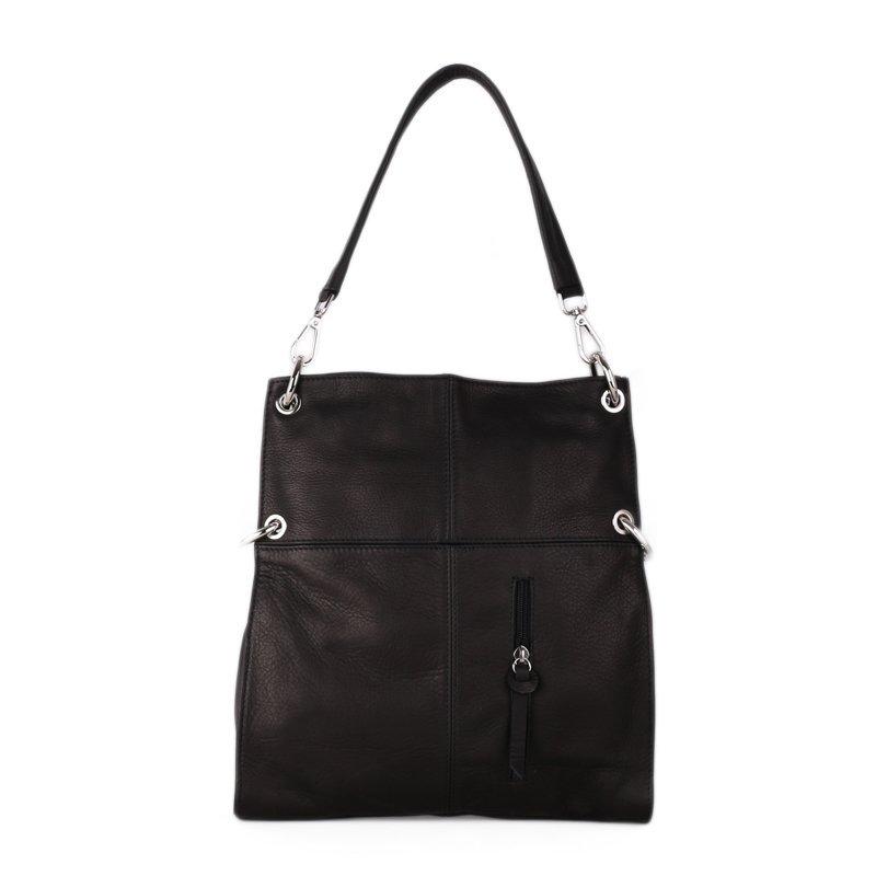 ITALSKÉ Černá kožená kabelka přes rameno Fulvia