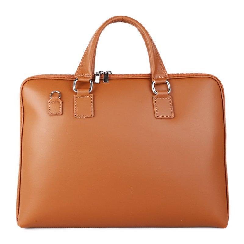 ITALSKÉ Business kožené kabelky do ruky Italské Cloe camel