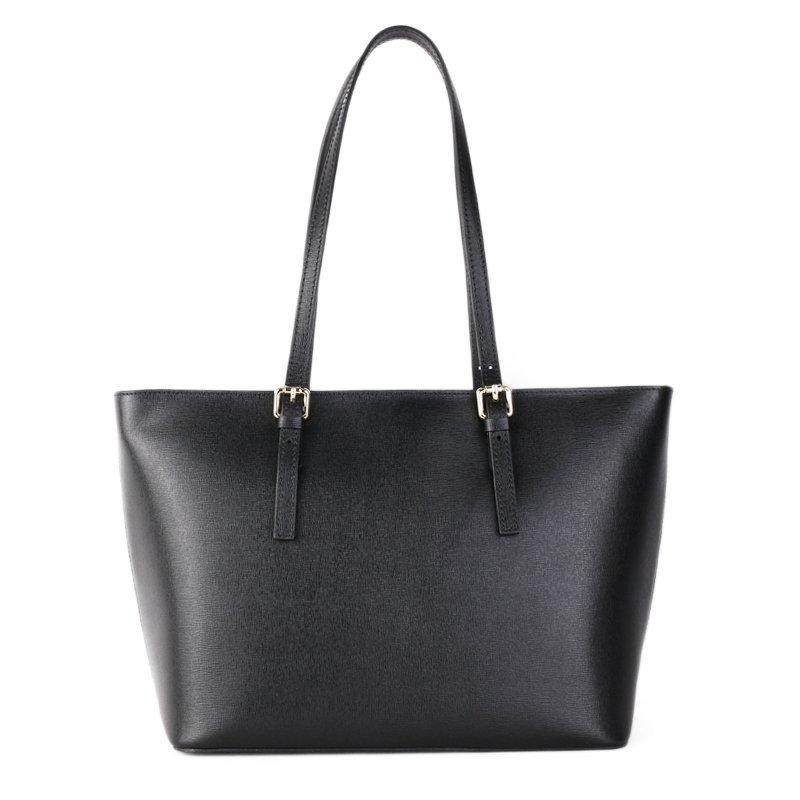 ITALSKÉ Elegantní kožené kabelky shopperky v černé barvě Zoe