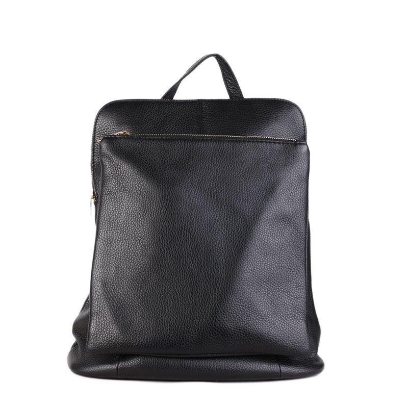 ITALSKÉ Italský kožený batoh a kabelka v jednom černý Navaro 5e117ce209f