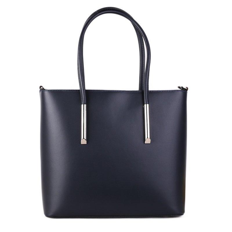ITALSKÉ Elegantní prostorné kožené kabelky přes rameno Rosina silněmodrá