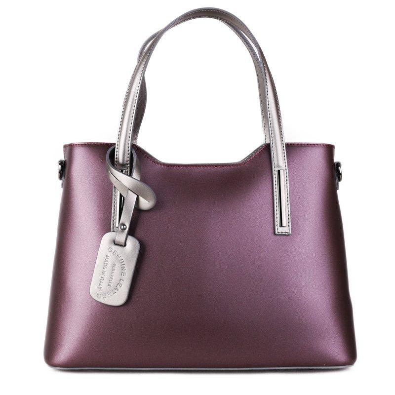ITALSKÉ Kožené kabelky do ruky z Itálie Vera Pelle Carina kráľovská fialová