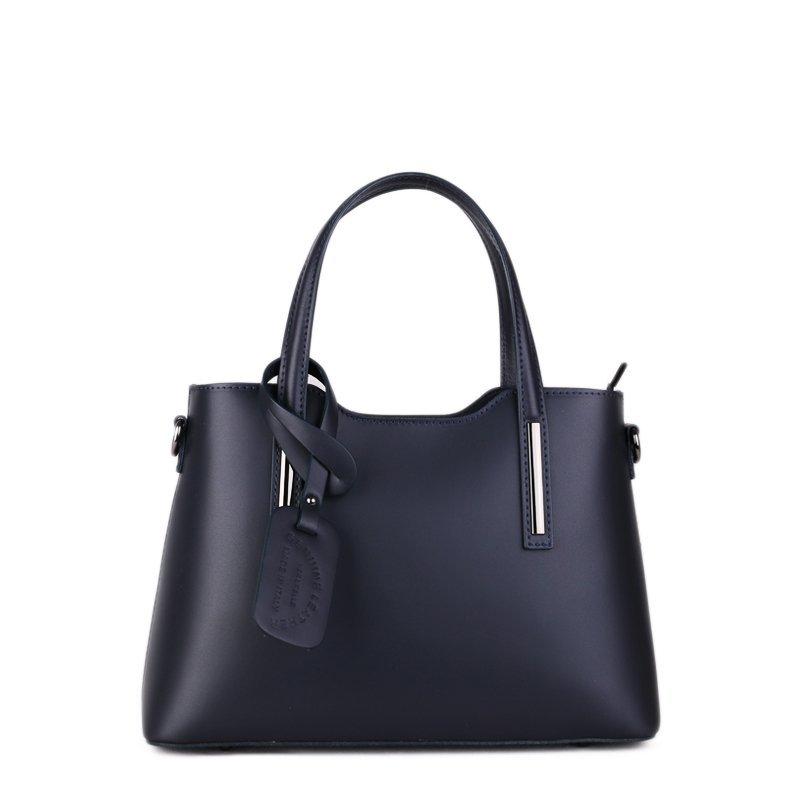 ITALSKÉ Luxusní kožené kabelky Vera Pelle Carina střední silně modré