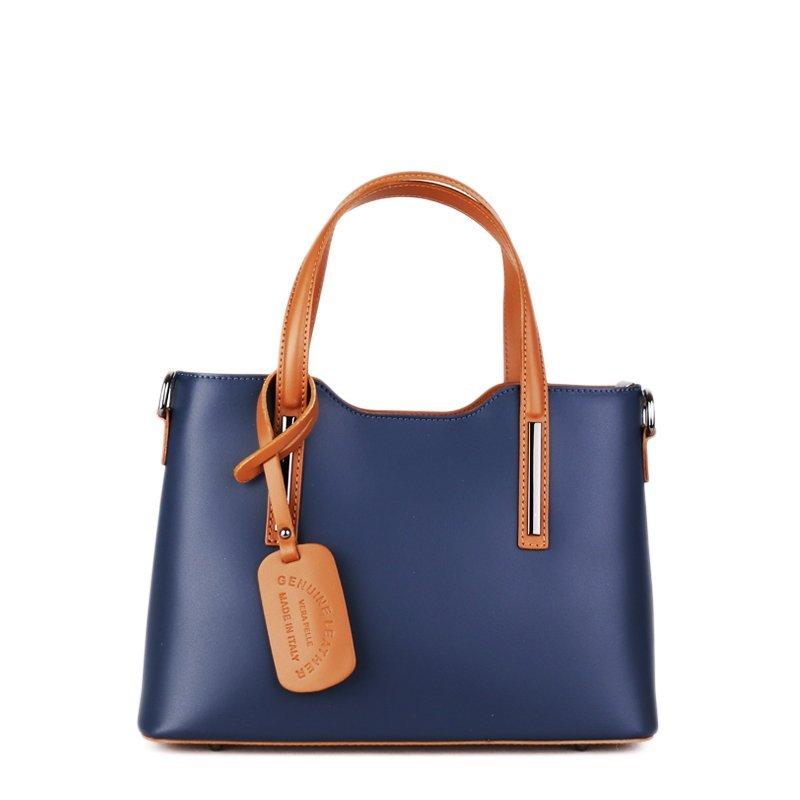 ITALSKÉ Italské kožené kabelky do ruky Carina střední modré s camel