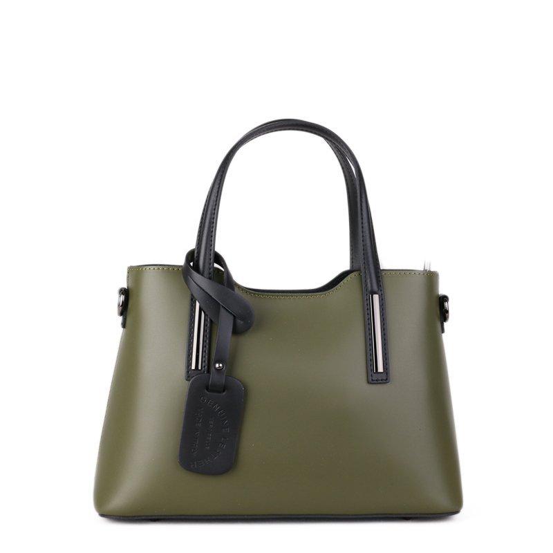 ITALSKÉ Luxusní trendové kožené kabelky Carina zelené s černou