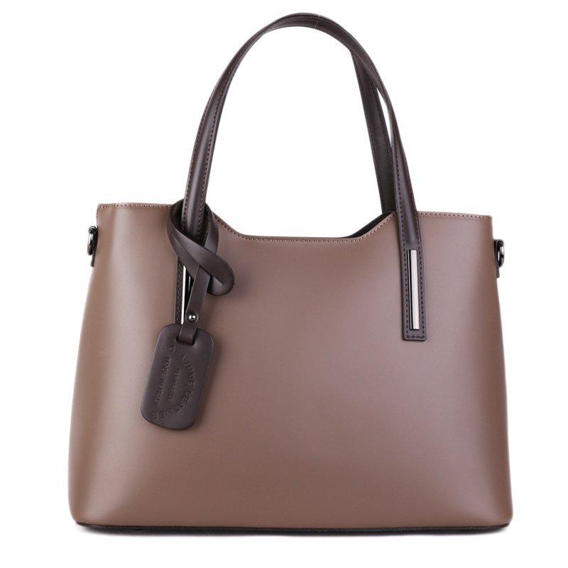 ITALSKÉ Luxusní kožené kabelky přes rameno Vera Pelle Carina taupe s černou