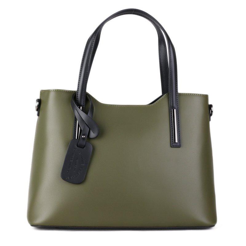 ITALSKÉ Černé luxusné a nadčasové kožené kabelky Vera Pelle Carina