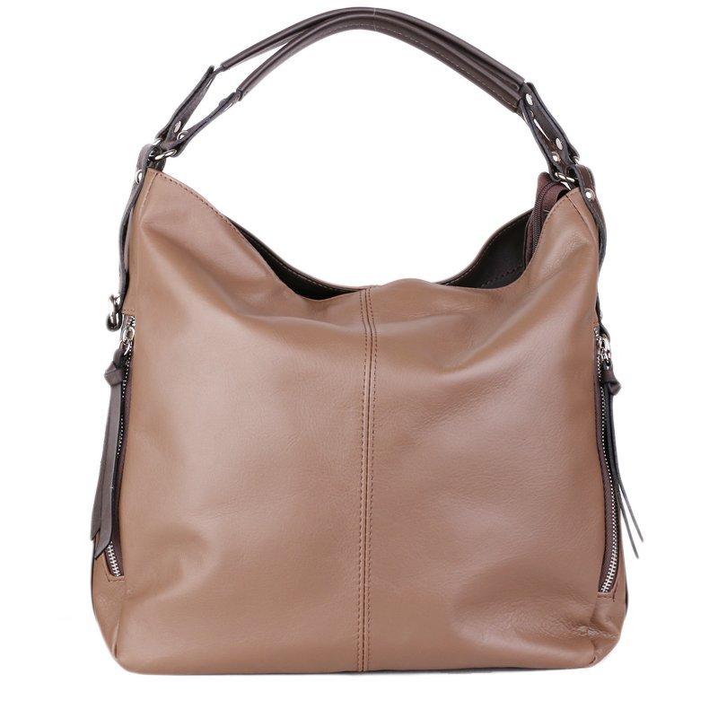 ITALSKÉ Luxusní klasické kožené kabelky Vera Pelle Amelia taupe